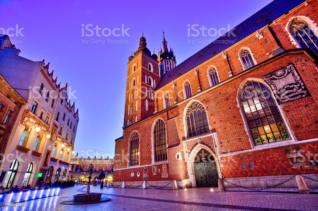 Krakow, St. Mary`s church stock photo