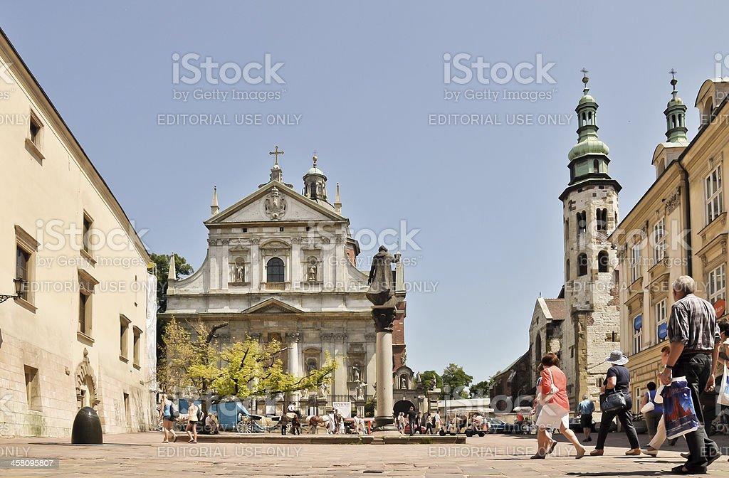 Krakau, Touristen auf Saint Mary Magdalene Square Lizenzfreies stock-foto