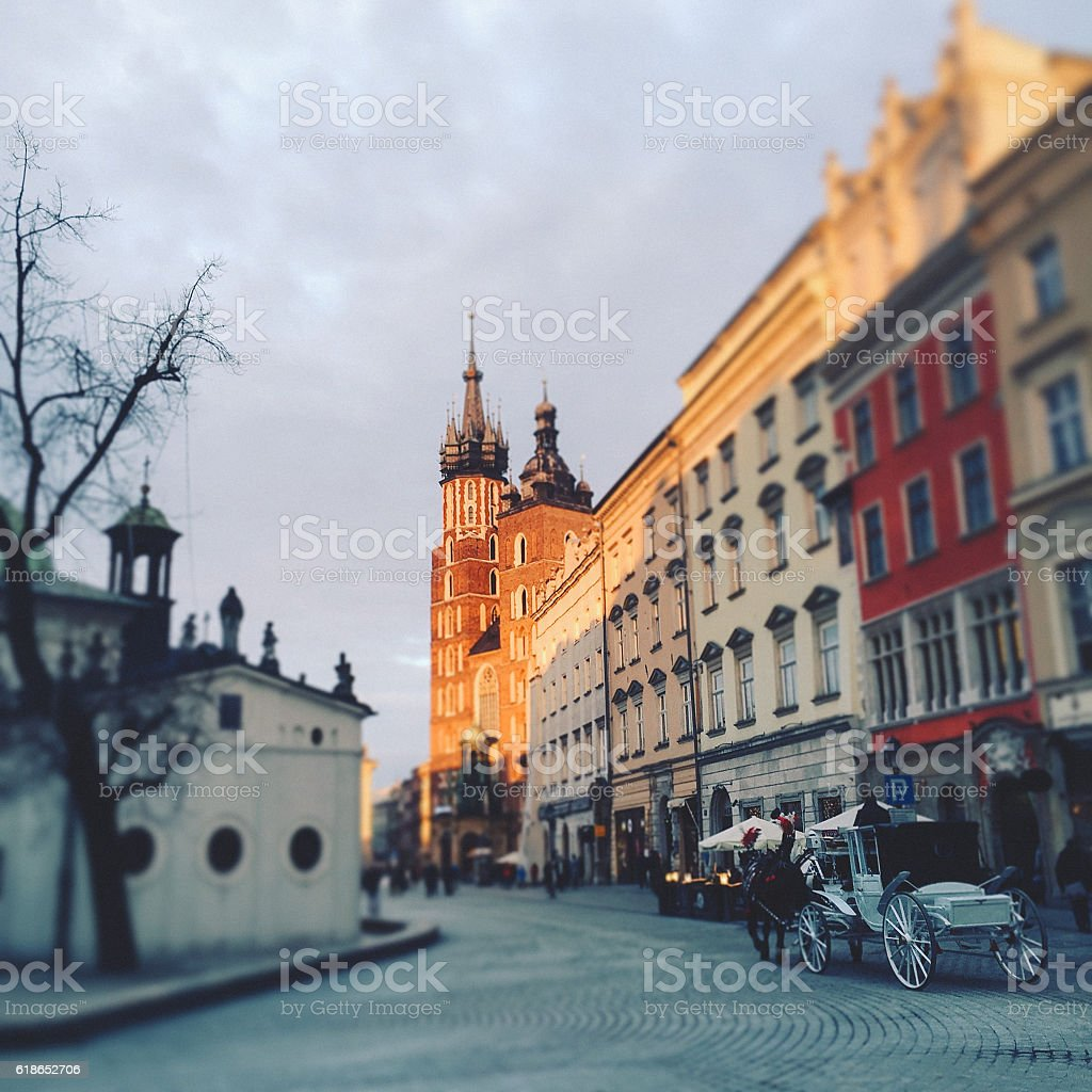 Krakow's Main Market square stock photo