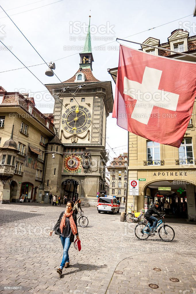 Kramgasse and Zytglogge, Bern city center stock photo
