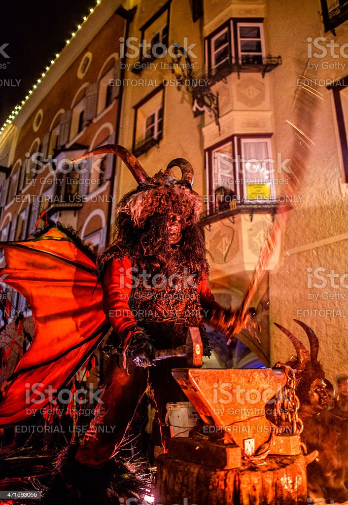 Krampus Night Sterzing royalty-free stock photo