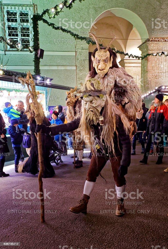 Krampuslauf in Salzburg stock photo