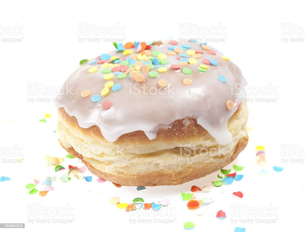 krapfen - doughnut isolated on white with Zuckerguss stock photo