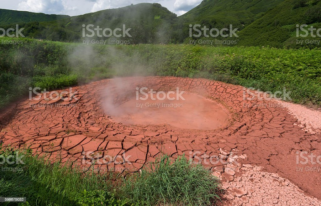 Krasnyy (Red) Mudpot in Valley of Geysers stock photo