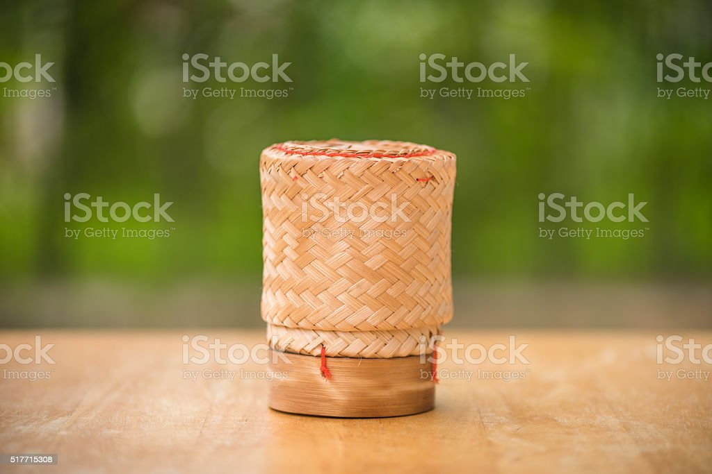 Kratip Khao, Thai bamboo sticky rice container stock photo