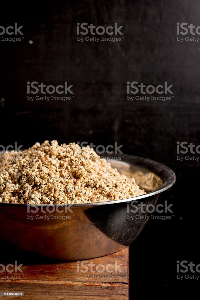 Krayasart, Thai dessert made of rice on vintage wooden background stock photo
