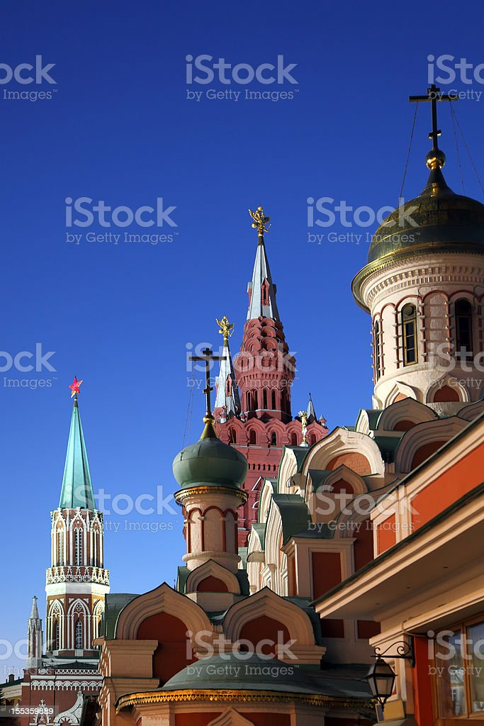 Kremlin and Church in Red Square royalty-free stock photo