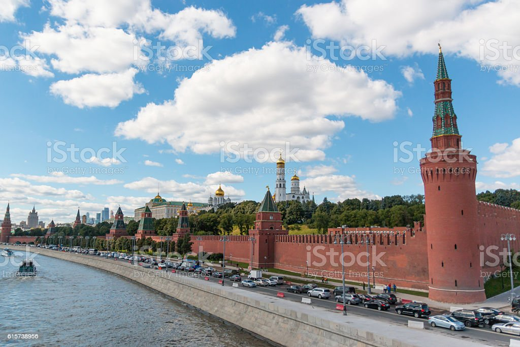 Kremlin and embankment of the Moscow river in Sunny day stock photo