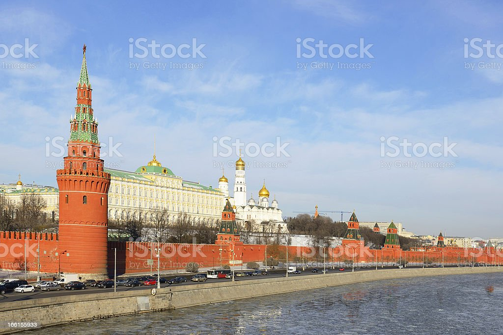 Kremlin and Moscow river in early spring, Russia royalty-free stock photo
