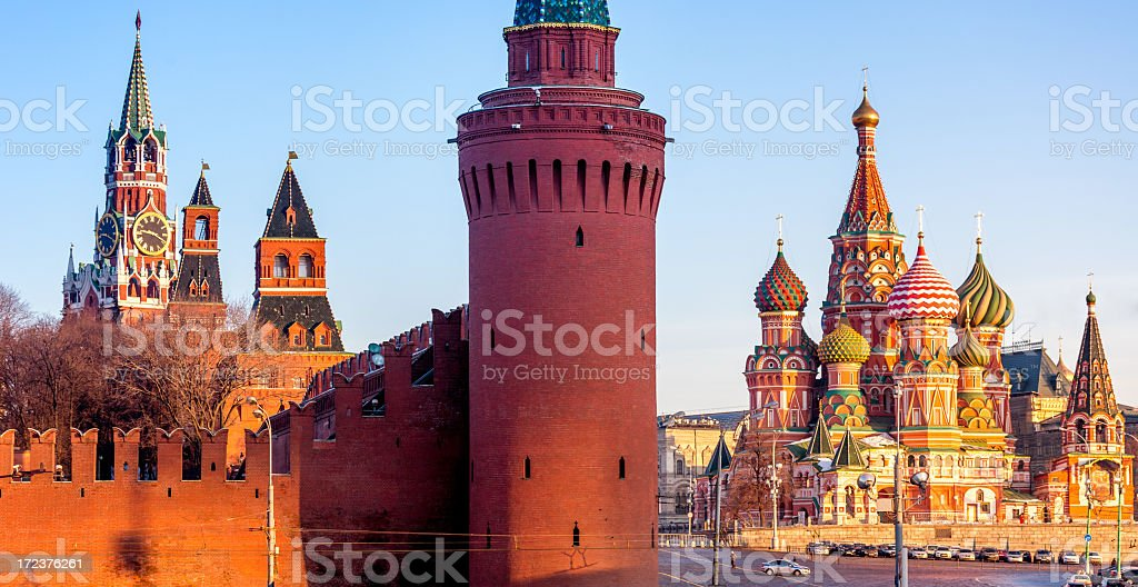 Kremlin and St. Basil's Cathedral on sunny morning royalty-free stock photo