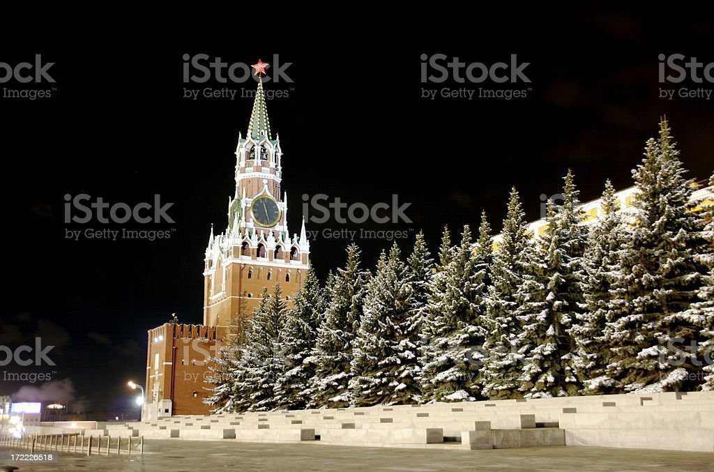 Kremlin by night stock photo