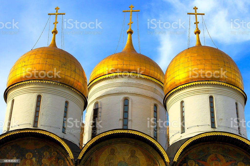 Kremlin Cathedral Crosses gold domes under sky, Russia stock photo