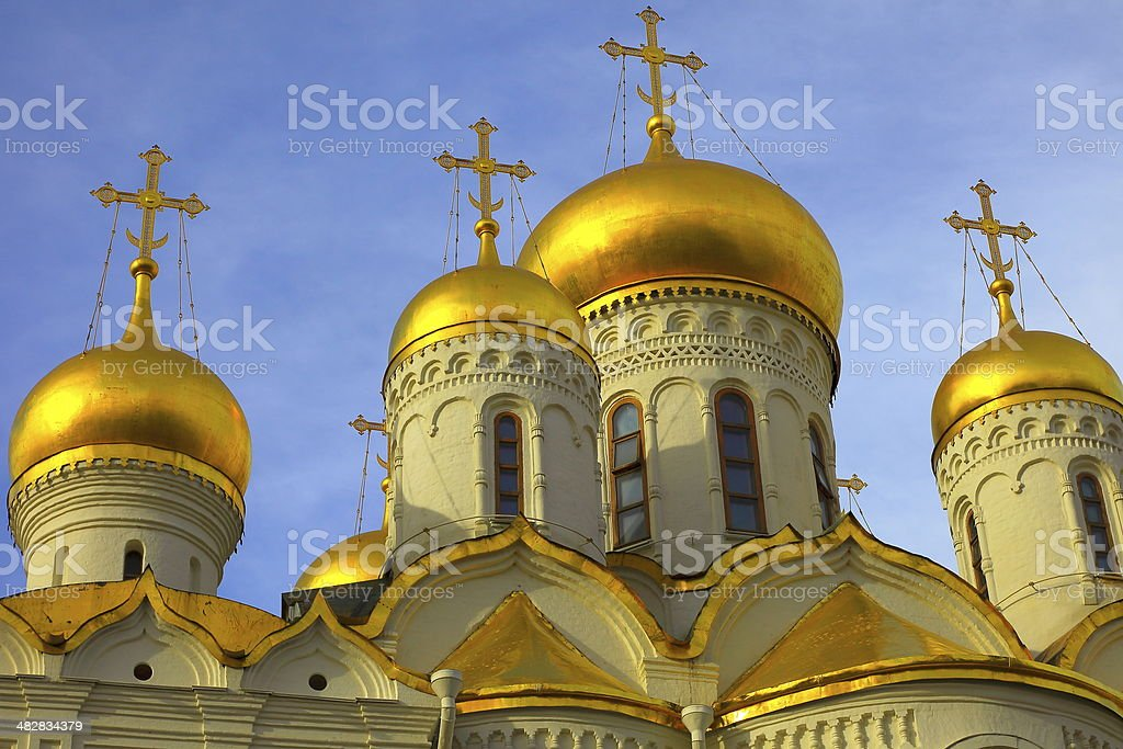 Kremlin Cathedral Crosses golden domes under sky, Russia stock photo