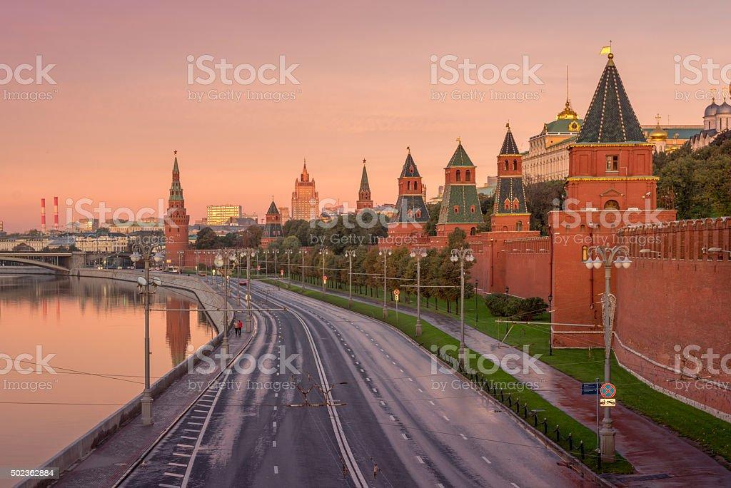 Kremlin Embankment in the morning stock photo