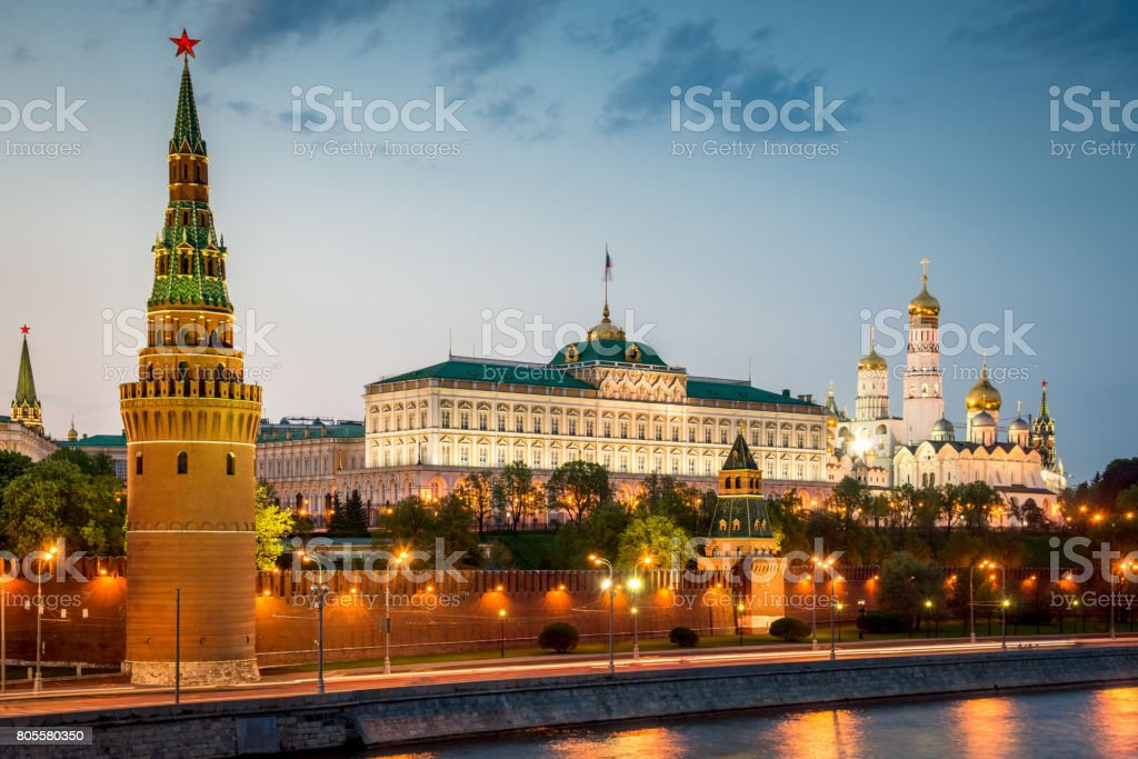 Kremlin in Moscow at Sunset Twilight Russia stock photo