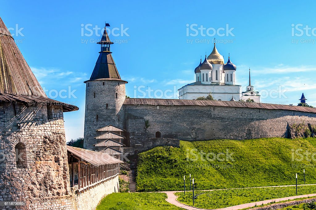Kremlin in the Pskov city, Russia, ancient fortress stock photo