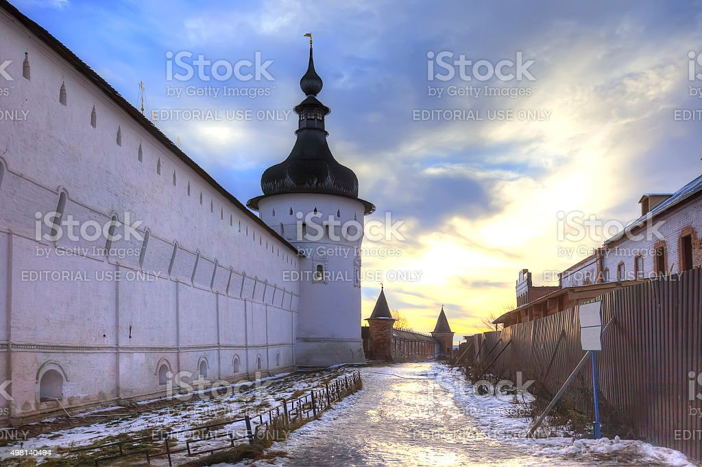 Kremlin of city Rostov. Evening stock photo