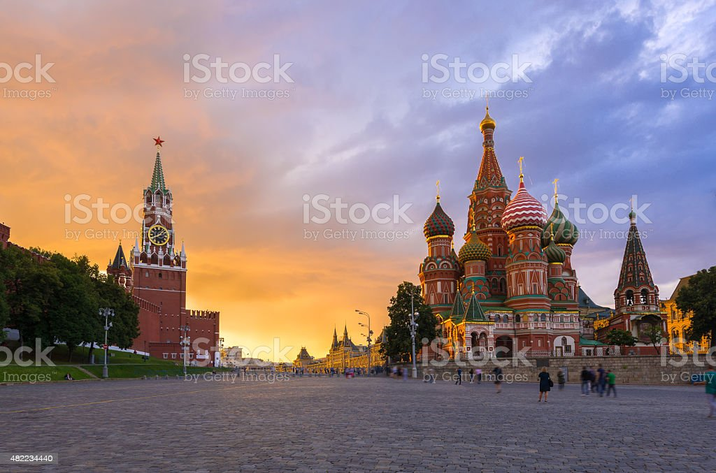 Kremlin, Red Square and Saint Basil's Cathedral in Moscow. Russia stock photo