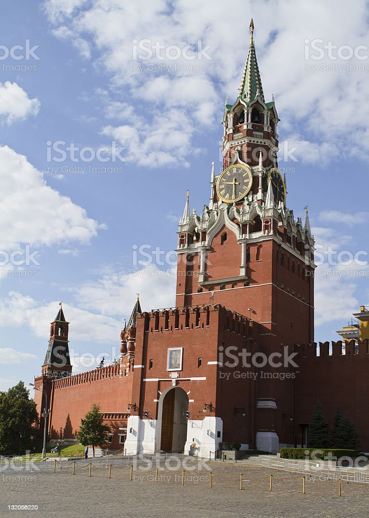 Kremlin Tower in Red Square stock photo