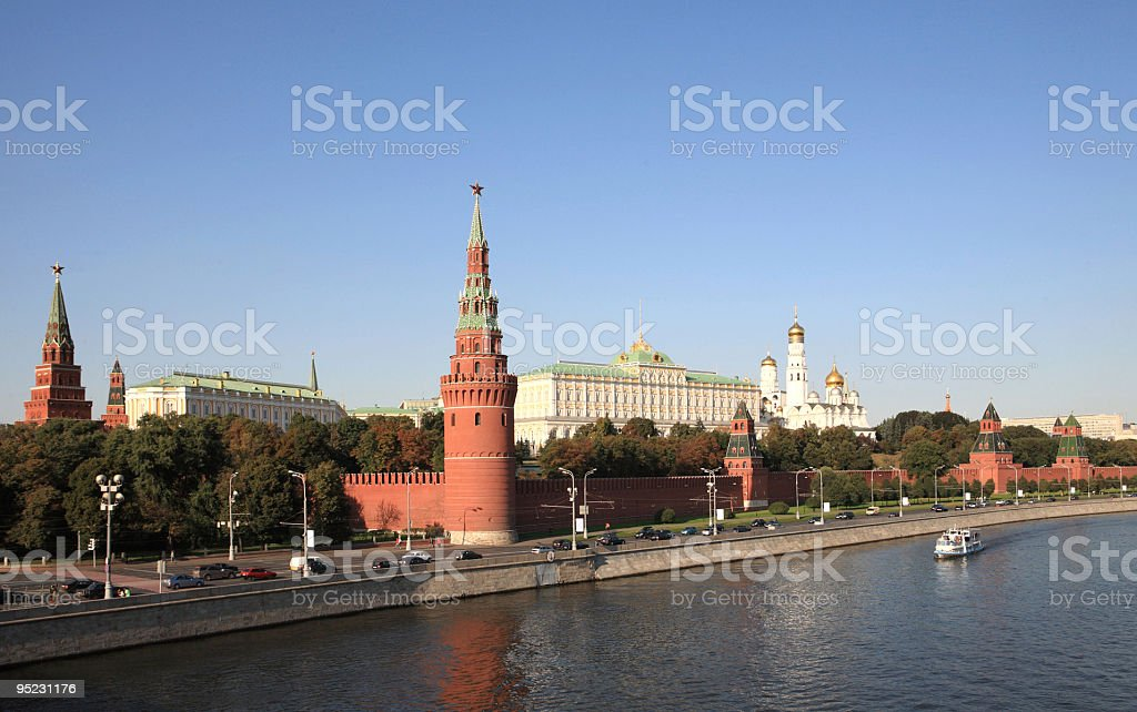 Kremlin tower,  quay and river royalty-free stock photo