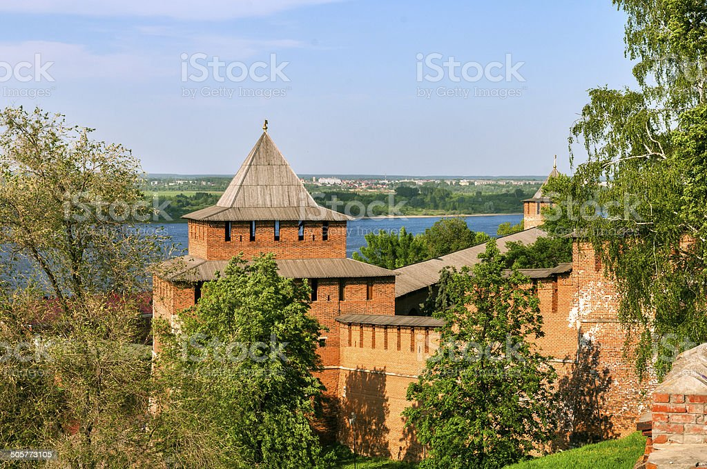 Kremlin wall and tower, Russia, Nizny Novgorod stock photo