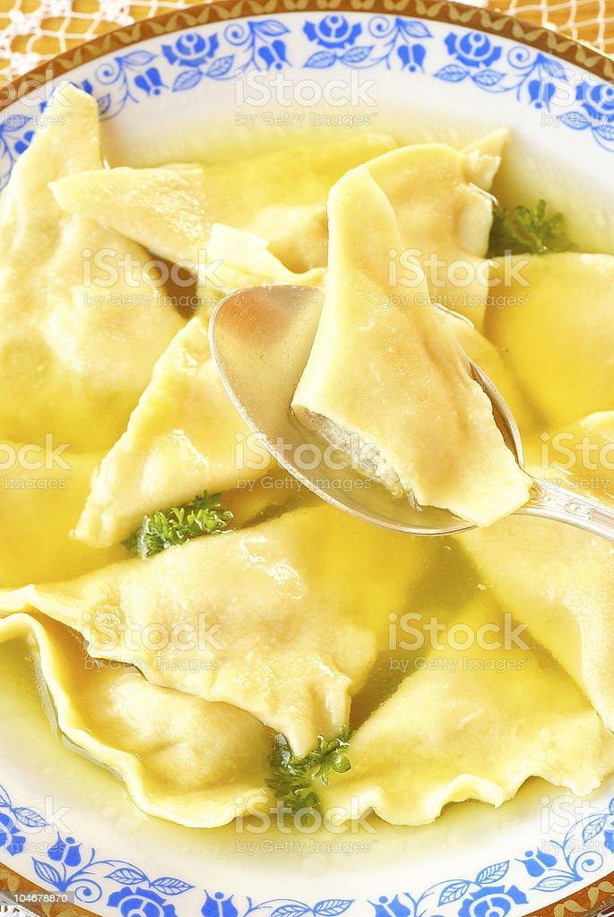 Kreplach (Jewish ravioli) stock photo