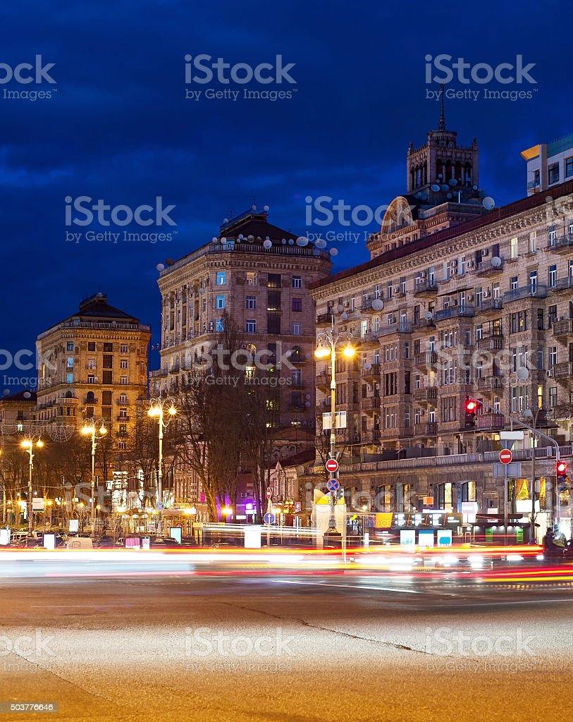 Kreschatik street at night, Kyiv stock photo