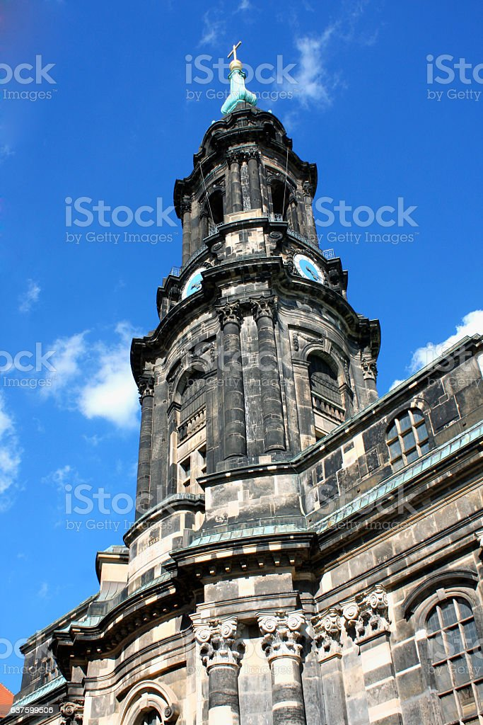Kreuzkirche meaning Church of the Holy Cross in Dresden Germany stock photo