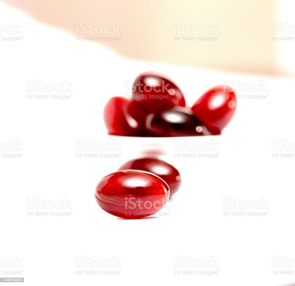 krill oil gel capsules isolated on white background stock photo
