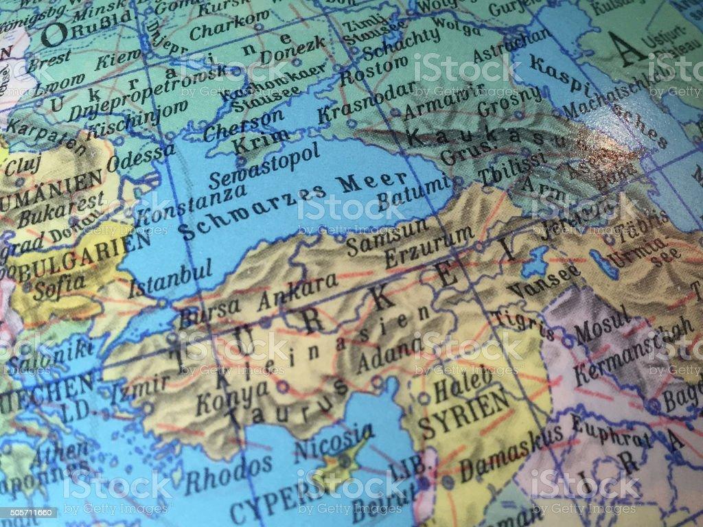 Krim, Tuerkei, Syrien - Alter Globus / Weltkarte stock photo