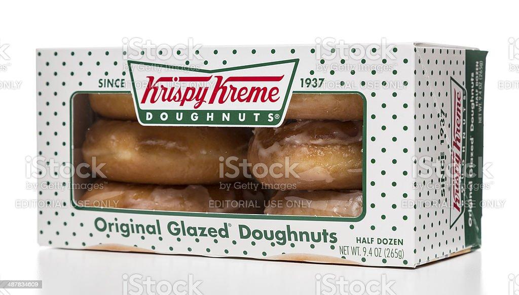 Krispy Kreme original glazed doughnuts half dozen box stock photo