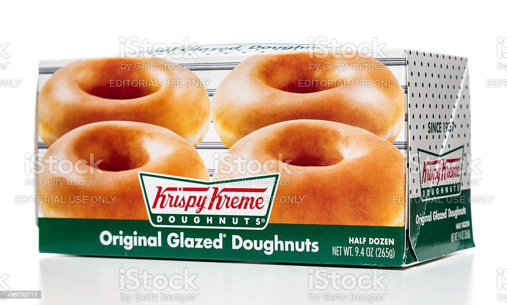 Krispy Kreme original glazed doughnuts half dozen stock photo