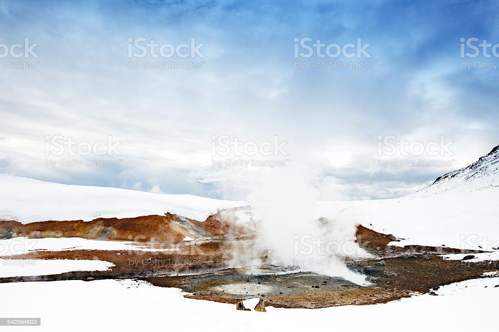 Krisuvik geothermal field in winter,Iceland stock photo