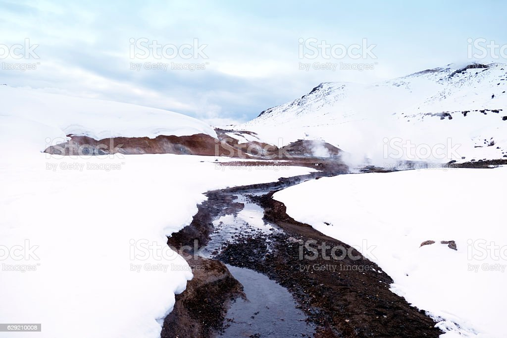 Krisuvik geothermal field in winter,Iceland stock photo