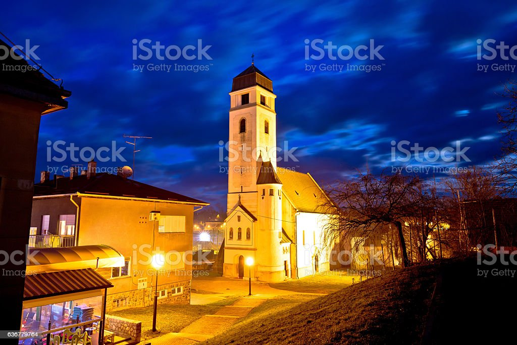 Krizevci historic cathedral evening view stock photo