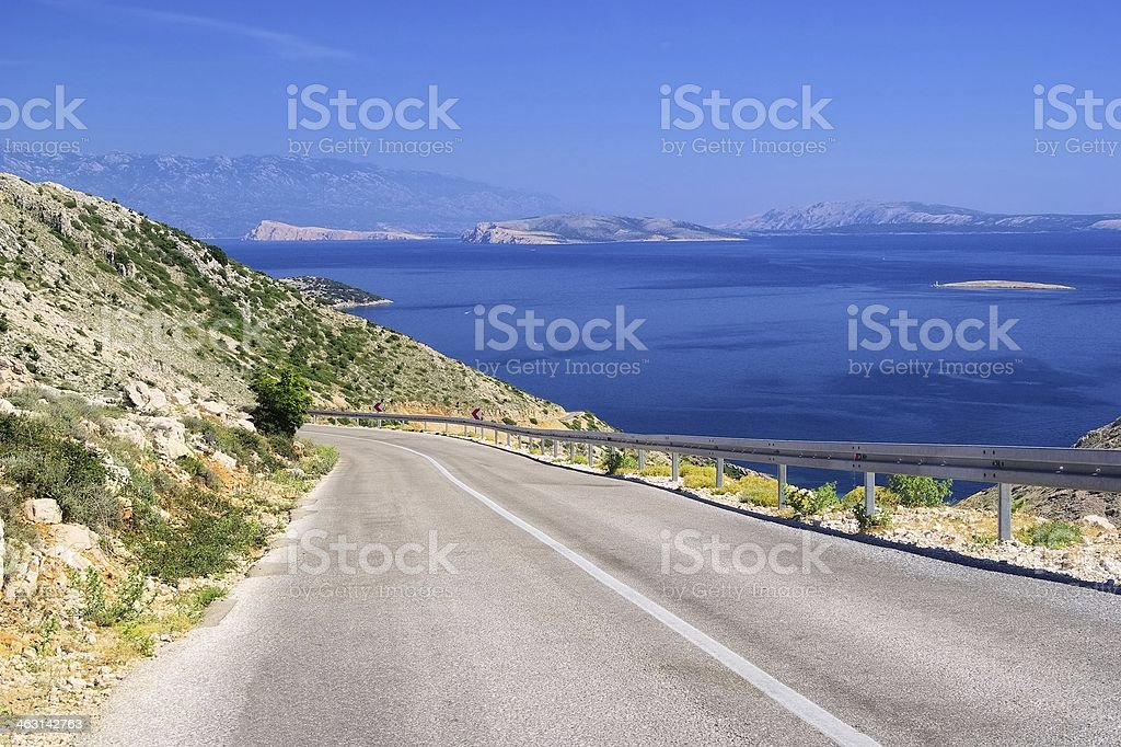 Krk and islands from sand stock photo
