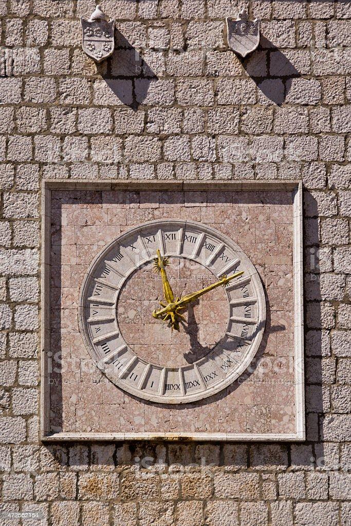 Krk old clock , Croatia stock photo