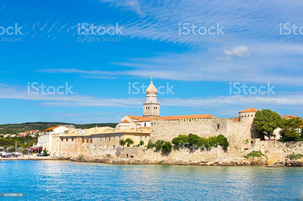 Krk town, Mediterranean, Croatia, Europe stock photo