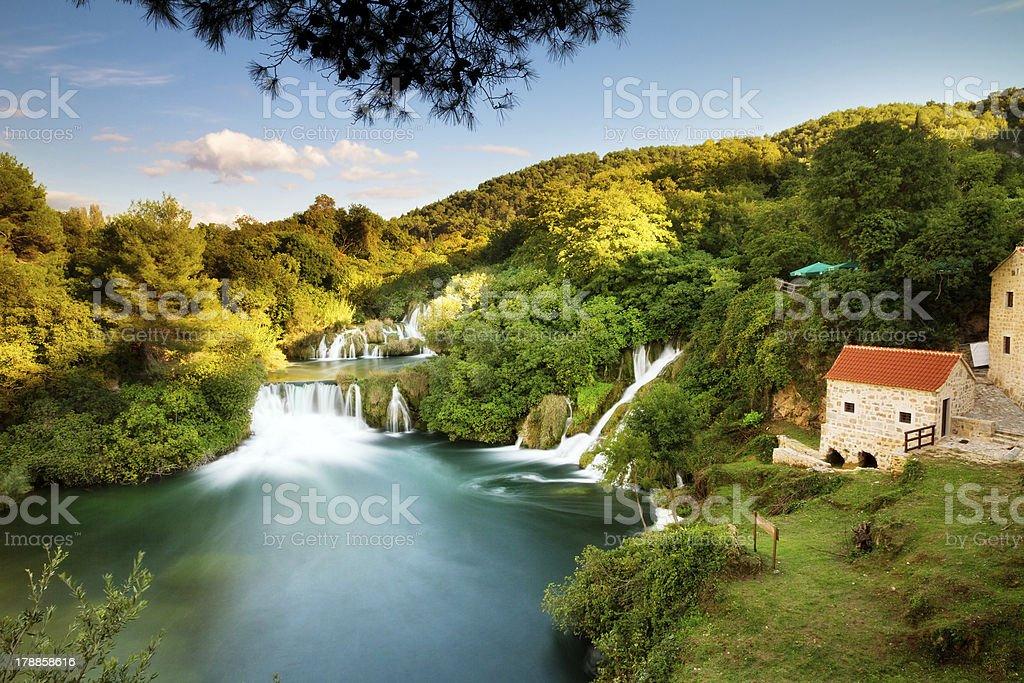 Krka morning panorama stock photo