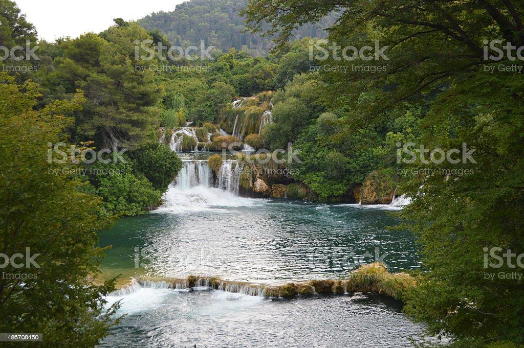 krka park river y cascada en Croacia foto de stock libre de derechos