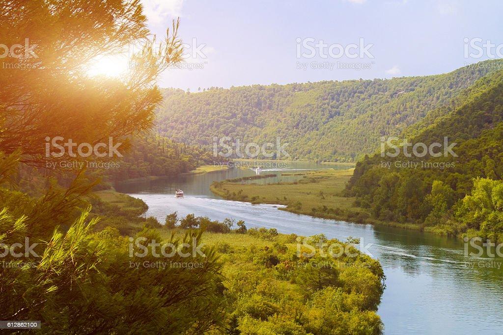 Krka river in the Krka National Park stock photo