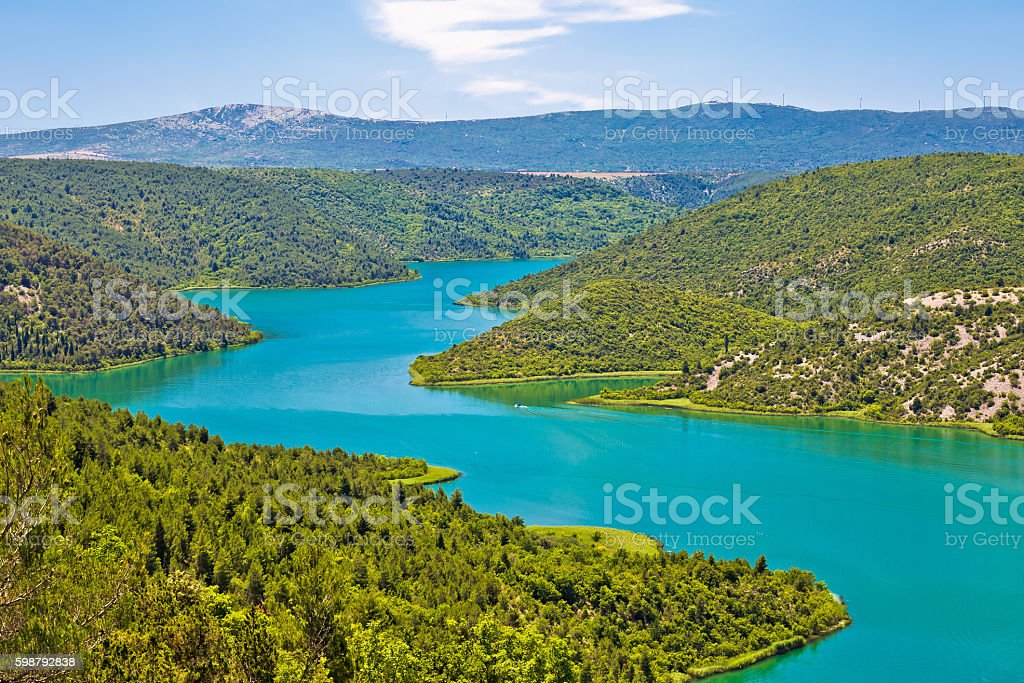Krka river national park view stock photo
