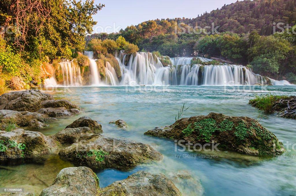 Krka river waterfalls, Dalmatia, Croatia stock photo