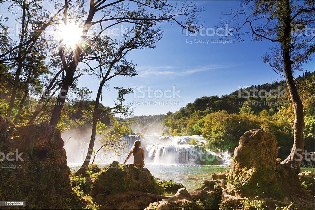 Krka sunshine falls stock photo