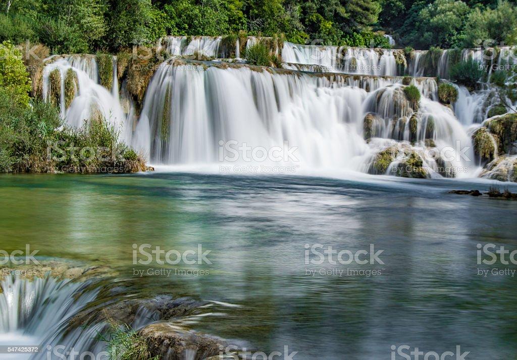 Krka Waterfall Levels in Summer, Croatia stock photo