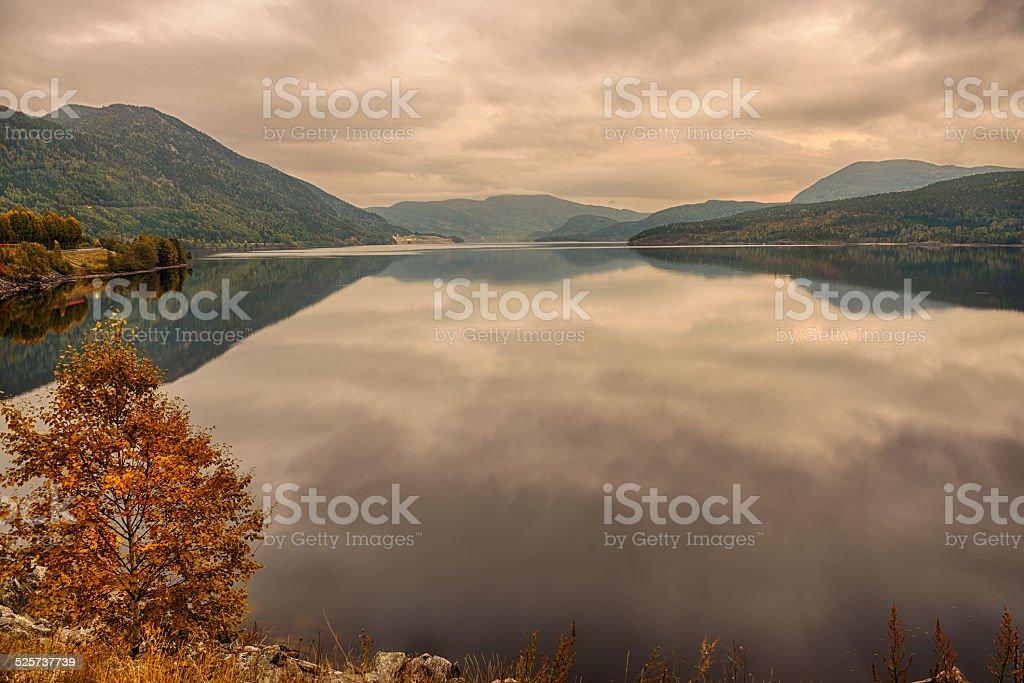 Kroderen lake on Hallingdal river in Buskerud, Norway at sunset stock photo