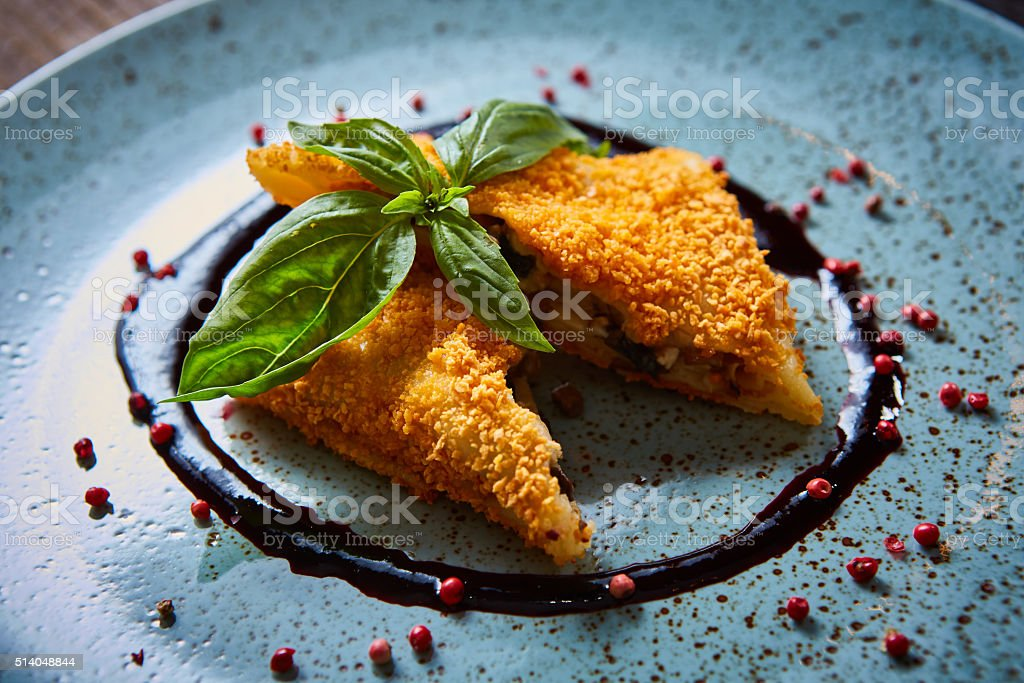 Krokiety - Polish style croquettes filled with beef stock photo