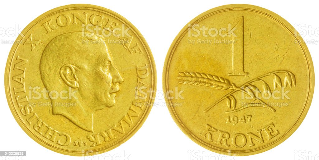 1 krone 1947 coin isolated on white background, Denmark stock photo