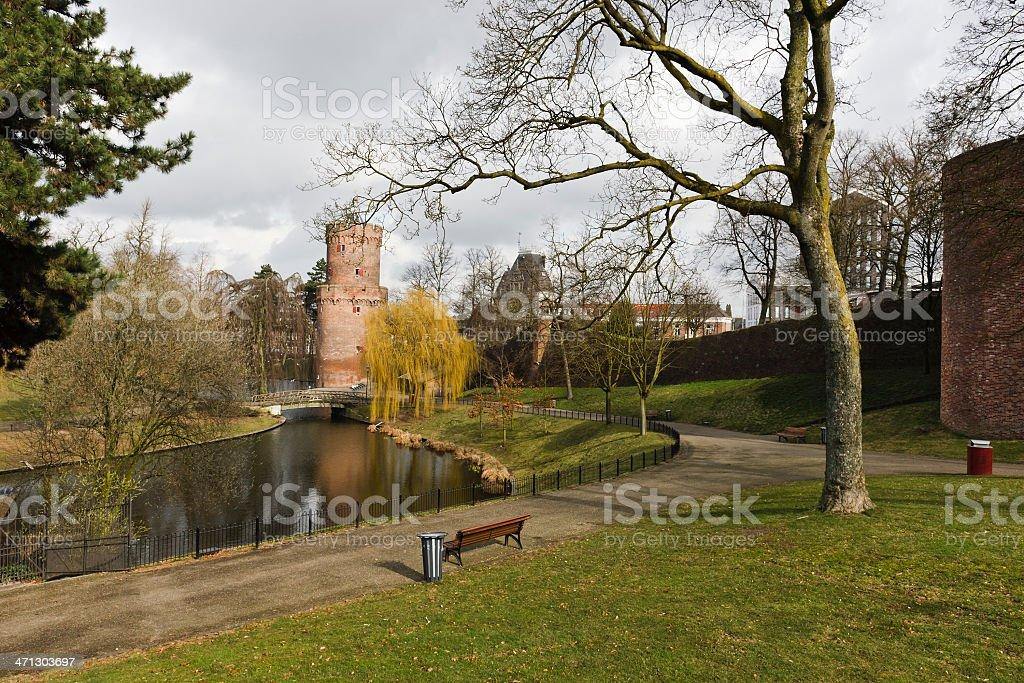 'Kronenburgerpark' downtown Nijmegen, the Netherlands with medieval 'Kronenburgertoren' in background. stock photo