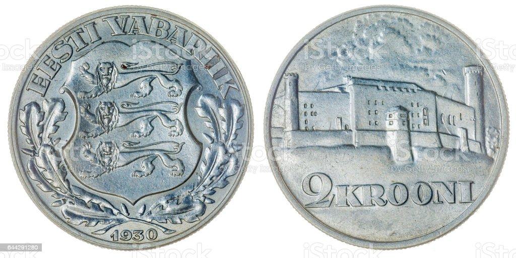 2 krooni 1930 coin isolated on white background, Estonia stock photo